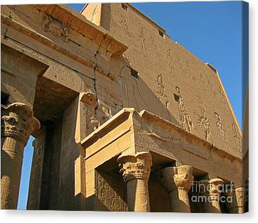 Egyptian Temple Architectural Detail Canvas Print by John Malone