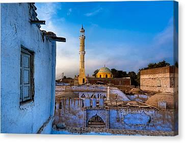 Egyptian Village Minaret At Dusk Canvas Print by Mark E Tisdale