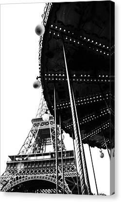 Eiffel And Ride In Mono Canvas Print