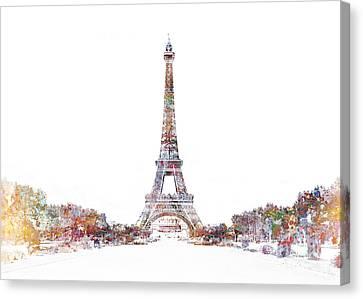 Eiffel Color Splash Canvas Print by Aimee Stewart