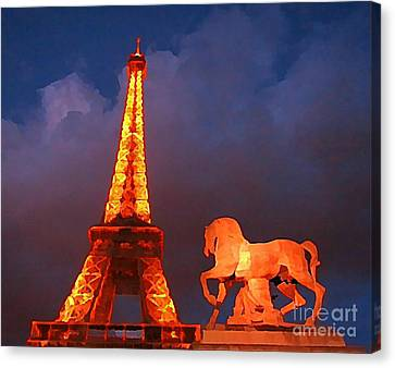 Eiffel Tower And Horse Canvas Print by John Malone