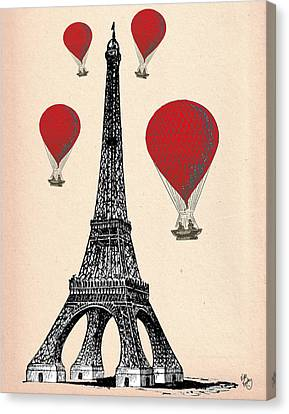 Eiffel Tower And Red Hot Air Balloons Canvas Print by Kelly McLaughlan