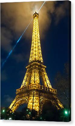 Canvas Print featuring the photograph Eiffel Tower At Night by Avian Resources