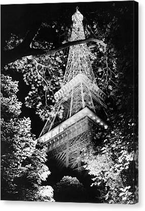 Bough Canvas Print - Eiffel Tower At Night by Underwood Archives