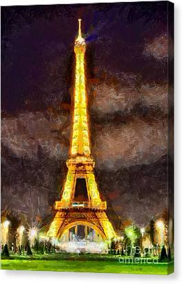 Canvas Print featuring the digital art Eiffel Tower By Night by Kai Saarto