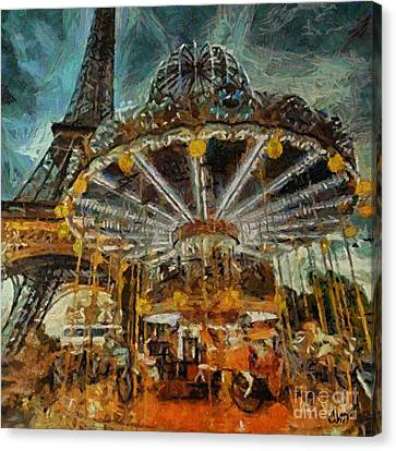 Eiffel Tower Carousel Canvas Print