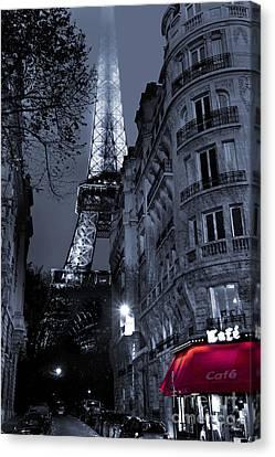Fog Canvas Print - Eiffel Tower From A Side Street by Simon Kayne