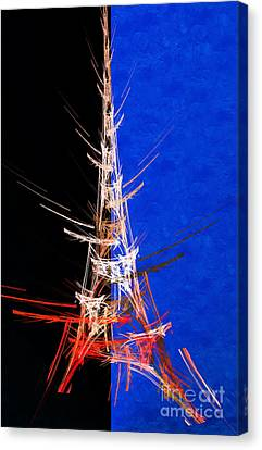 Eiffel Tower In Red On Blue  Abstract  Canvas Print by Andee Design