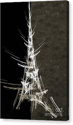 Eiffel Tower In White Bw 2 Abstract Canvas Print by Andee Design