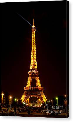 Eiffel Tower Night Canvas Print by Olivier Le Queinec