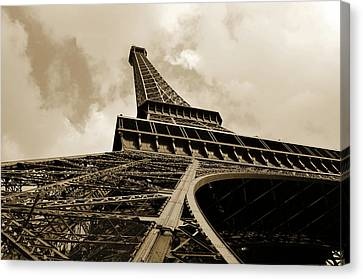 Eiffel Tower Paris France Black And White Canvas Print by Patricia Awapara
