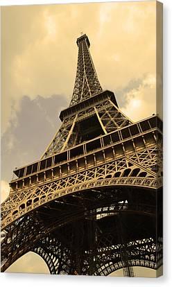 Eiffel Tower Paris France Sepia Canvas Print by Patricia Awapara