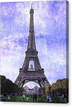 Canvas Print featuring the photograph Eiffel Tower Paris by Kathy Churchman