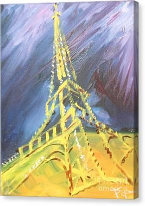 Eiffel Tower Paris Night Canvas Print by PainterArtist FIN
