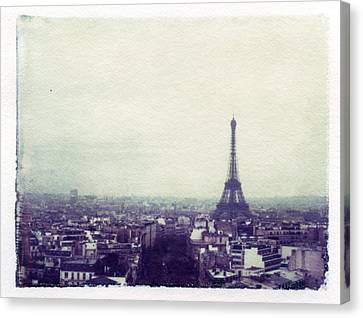 Eiffel Tower Paris Polaroid Transfer Canvas Print by Jane Linders