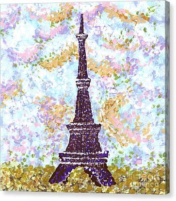 Eiffel Tower Pointillism Canvas Print by Kristie Hubler