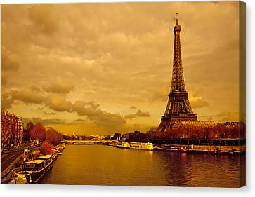 Eiffel Tower Rising Over The Seine Canvas Print by Mark E Tisdale