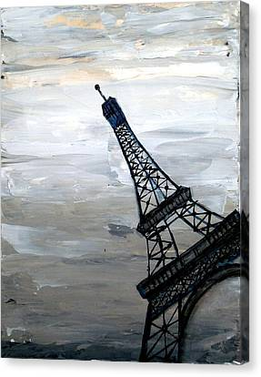 Eiffel Tower Silhouette Canvas Print by Holly Anderson