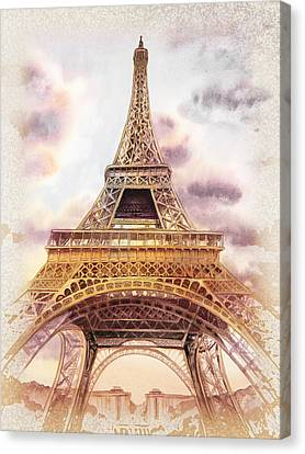 Eiffel Tower Vintage Art Canvas Print by Irina Sztukowski