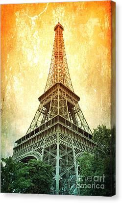 Digital Touch Canvas Print - Eiffel Tower Warmth by Carol Groenen