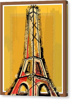 Eiffel Tower Yellow Black And Red Canvas Print by Robyn Saunders