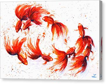 Eight Dancing Goldfish  Canvas Print by Zaira Dzhaubaeva