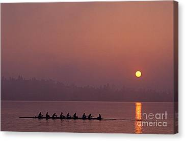 Eight Man Crew On Union Bay Silhouetted At Sunrise  Canvas Print by Jim Corwin