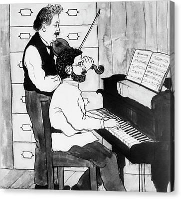 Einstein And Ehrenfest Duet In Leiden Canvas Print by Emilio Segre Visual Archives/american Institute Of Physics