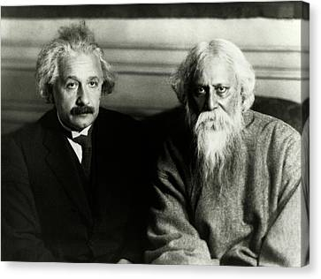 Einstein And Tagore Canvas Print by Emilio Segre Visual Archives/american Institute Of Physics