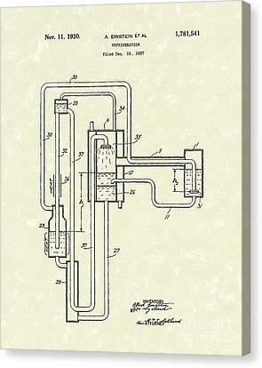 Einstein Refrigerator 1930 Patent Art Canvas Print by Prior Art Design