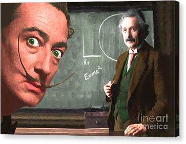 Einstein Shows Dali The Theory Of Relativity 20141215 Canvas Print by Wingsdomain Art and Photography