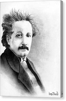 Canvas Print featuring the drawing Einstein by Wayne Pascall
