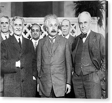 Swiss Canvas Print - Einstein With Us Physicists by Emilio Segre Visual Archives/american Institute Of Physics