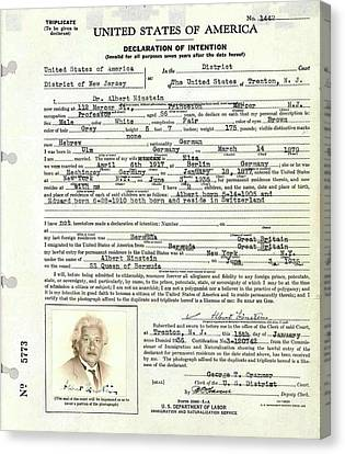Einstein's Immigration Declaration Canvas Print