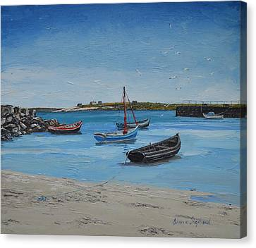Eirlough Boats Roundstone Connemara Ireland Canvas Print by Diana Shephard