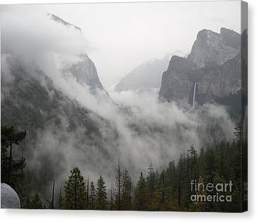 El Capitan And Bridal Veil Enshrowded Canvas Print