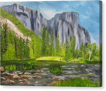 El Capitan And The River Canvas Print by Sally Jones