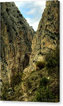 Canvas Print featuring the photograph El Chorro View Of The Railway Bridge by Julis Simo