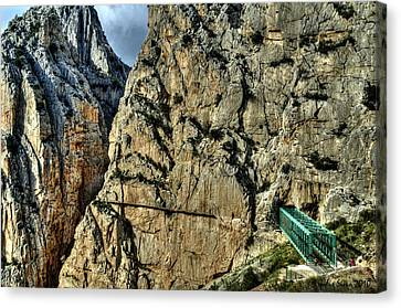 Canvas Print featuring the photograph El Chorro View With Railway Construction by Julis Simo