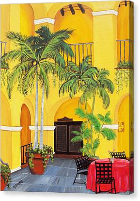 Yellow Building Canvas Print - El Convento In Old San Juan by Gloria E Barreto-Rodriguez