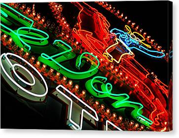Canvas Print featuring the photograph El Don Neon by Daniel Woodrum
