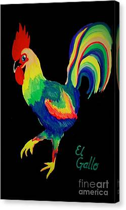 Canvas Print featuring the painting El Gallo by Marisela Mungia