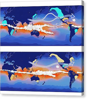 El Nino And La Nina Compared Canvas Print by Claus Lunau