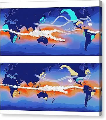 El Nino And La Nina Compared Canvas Print