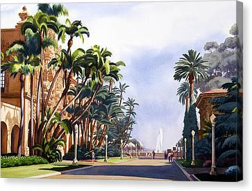El Prado In Balboa Park Canvas Print by Mary Helmreich