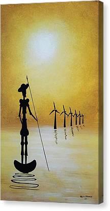 Don Quixote Fighting The Windmills Canvas Print by Edwin Alverio