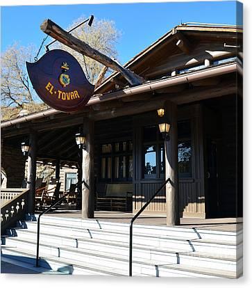 El Tovar Historic Hotel Entrance In Grand Canyon Village Square Canvas Print