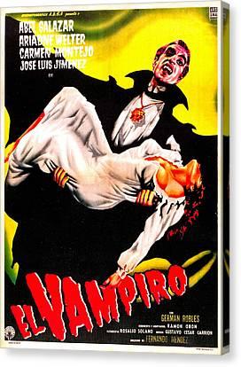 1950s Poster Art Canvas Print - El Vampiro, Spanish Language Poster by Everett