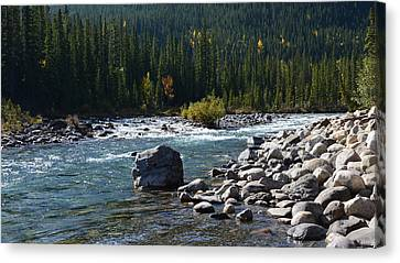 Elbow River Rock Art Canvas Print by Cheryl Miller