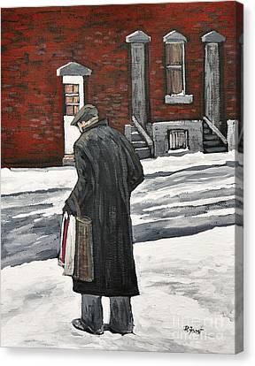 Elderly Gentleman  In Pointe St. Charles Canvas Print by Reb Frost